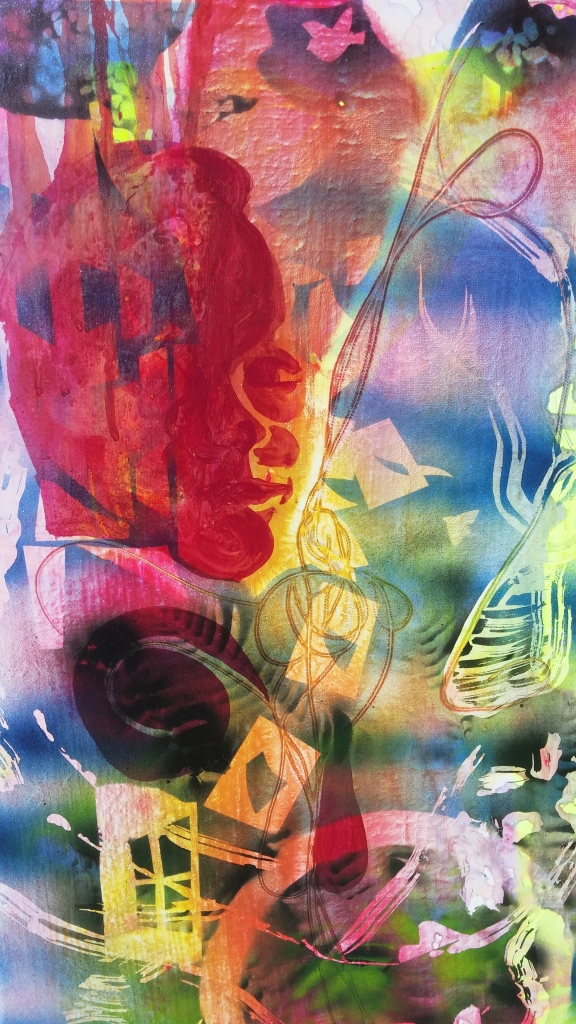 """Breaking Through (detail), 2015, acrylic and spray paint on canvas, 12"""" x 26"""""""