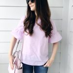 Lilac Bell Sleeve + Button Back Top