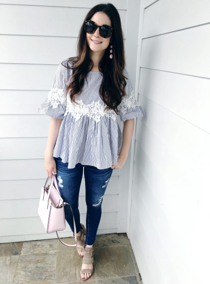 Blue & White Striped Top for Spring + New Must-Have Sandals