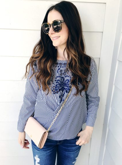 Blue Striped + Embroidered Top