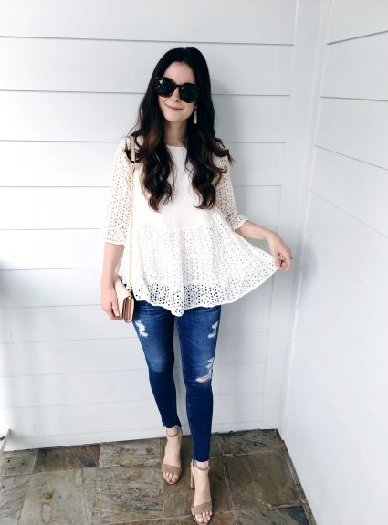 White Eyelet Detail Top