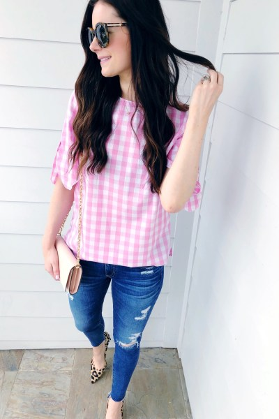 Pink Gingham Top