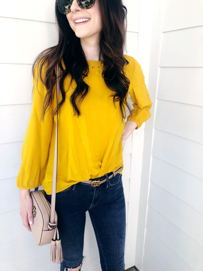 77748128 I love striped and the sleeve detail on this top makes it extra cute. I  love tees like this for work on more casual days (or ...
