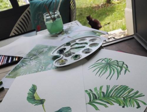 ©Véronique Milioni, La Marque, Les Univers, la nature, création dessin au trait fait-mai et aquarellé