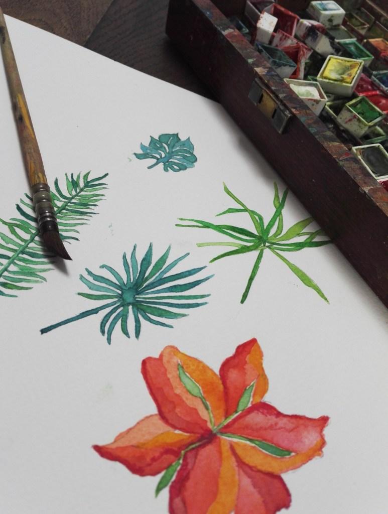 ©Véronique Milioni, La Marque, Les Univers, La Nature, création dessin au trait aquarellé