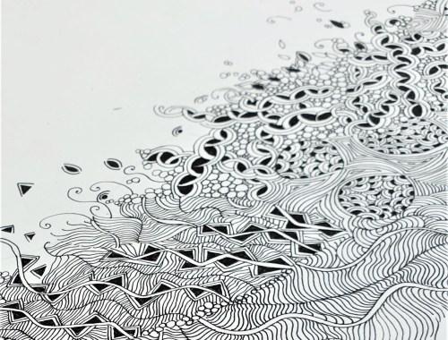 ©Véronique Milioni créatrice dessin méditatif papier peint la commune lyon