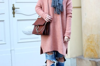 apricot knit asos, loafers