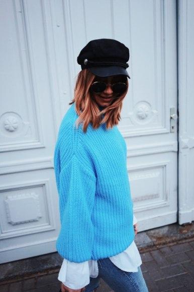 Mango Oversize Pullover, Acne Studios Boots, Levis Jeans, Gucci Marmont, Baker Boy Mütze, Streetstyle, Herbst Look