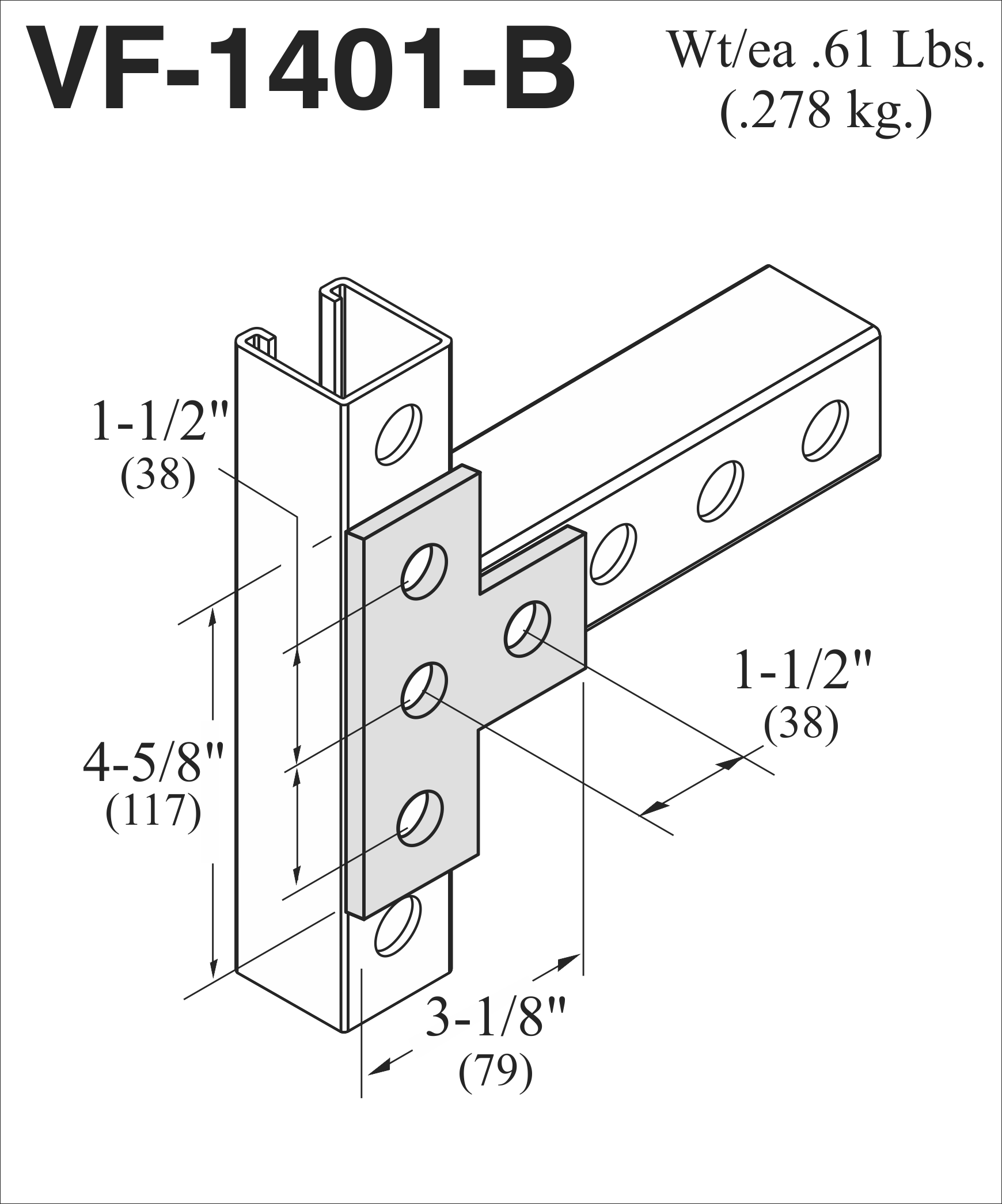 Vf B 4 Hole T Plate 1 5 Centers