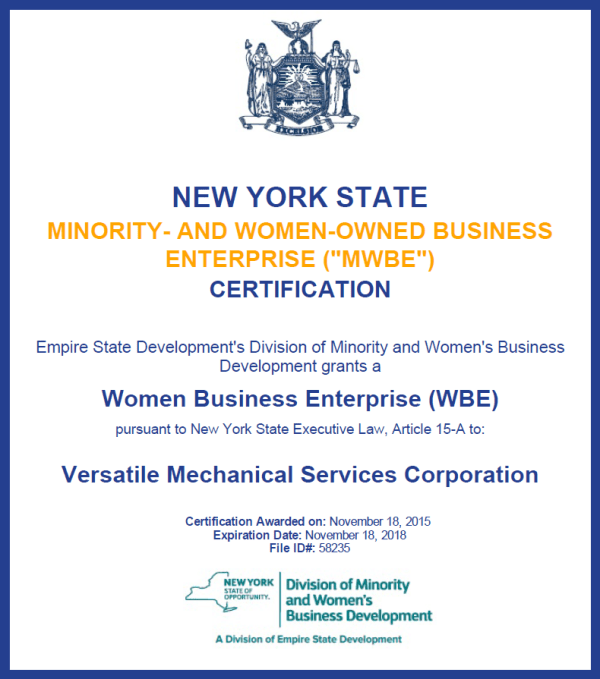 NYC & NYS WBE « Versatile Mechanical Services | Certified ...