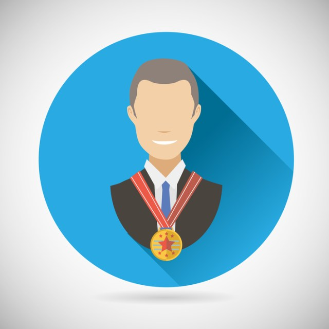Winner Success Businessman Victory prize Award Symbol Bust with Medal Icon on Stylish Background Modern Flat Design Vector Illustration