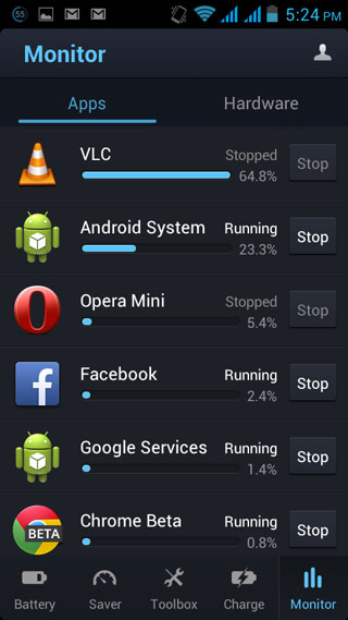 Du Battery saver running app monitor