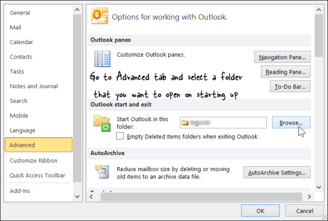Change the Outlook Start Up Folder