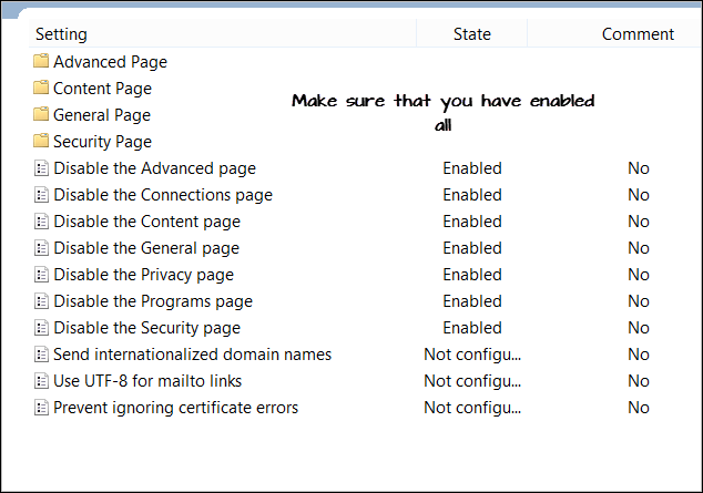 Disable Internet Options