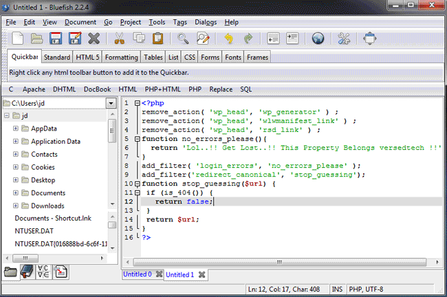 bluefish free text editor for developers