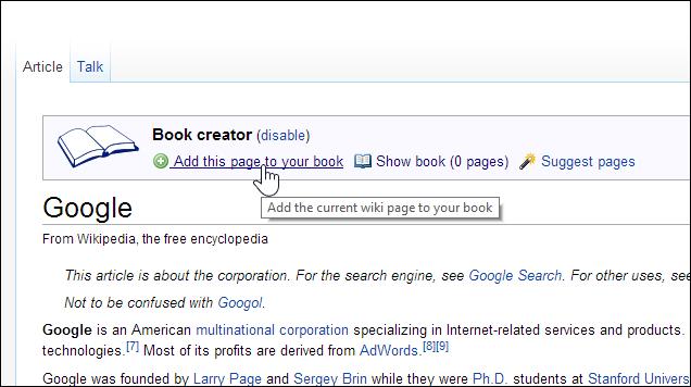Create a Book Using Wikipedia Articles