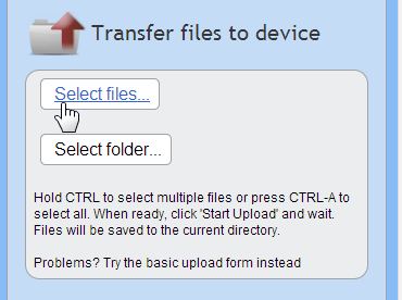 select file to transfer from PC to android