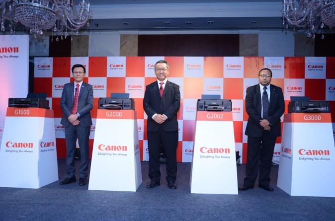 (L-R) Mr. Andrew Koh, VP-Consumer Imaging & Information Center, Mr.  Kazutada Kobayashi, President & CEO, Canon India & Mr. Gautam Paul, Asst Dir  & Head- CSP Group at the global launch of Canon PIXMA G Series Printe