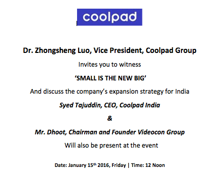 CoolPad Small is the new Big January 15th
