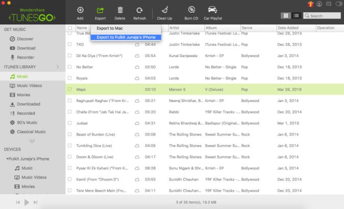 TunesGo Export to iPhone