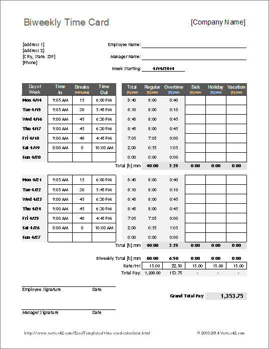 free timesheet calculator excel