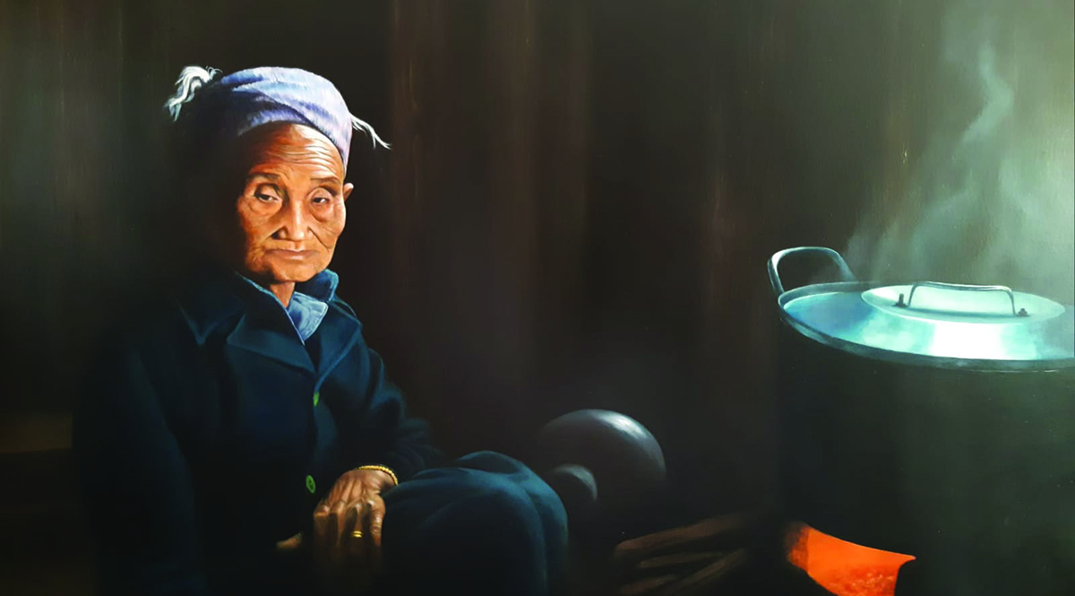 The Cooking Pot. A portrait painted by Abby Collins of an old women in a remote Laotian village.