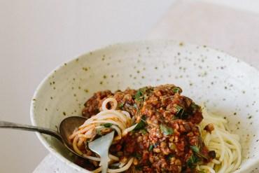 Mushroom + Lentil Spaghetti