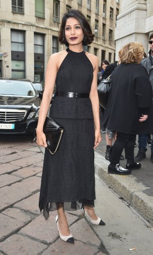 In Salvatore Ferragamo at Milan Fashion Week, 2015