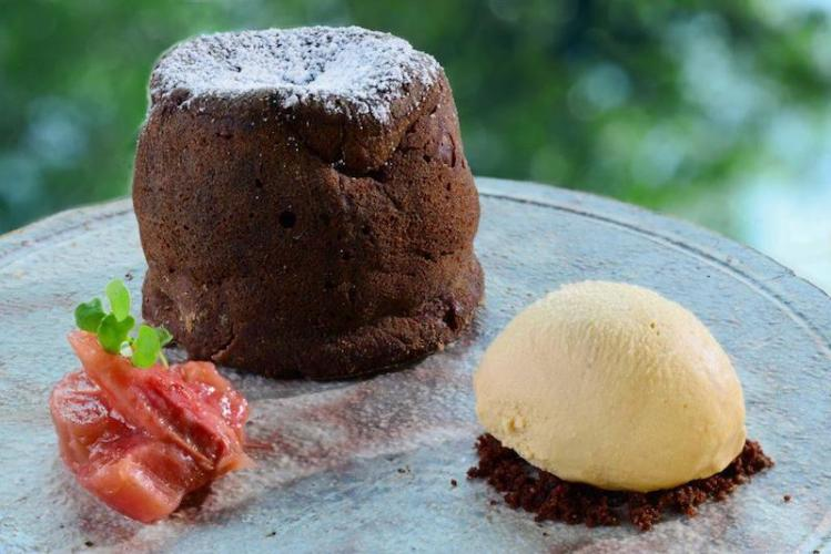 Chocolate Fondant with Maple Miso ice-cream and Rhubarb jelly