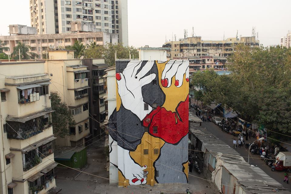 Art, Ella, Ella and Pitr, Featured, French artists, Grafitti, Installation, Mahim East, Mumbai, Mural, Online Exclusive, Pitr, sleeping giants, St+art Festival 2018, St+Art India, St+art India Foundation