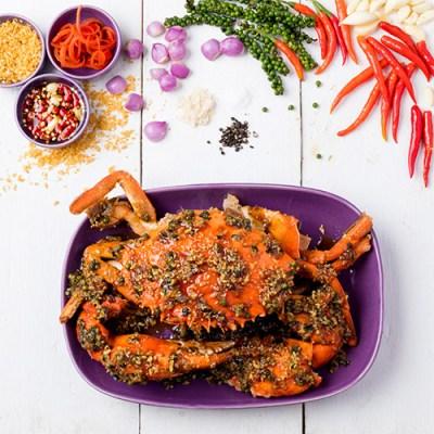 Phu Tord Prik Thai Dam - Fried Peppered Crab