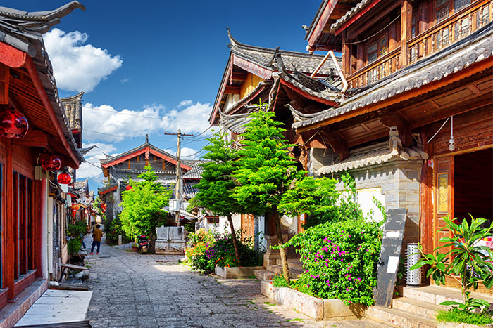 A scenic street in the Old Town of Lijiang