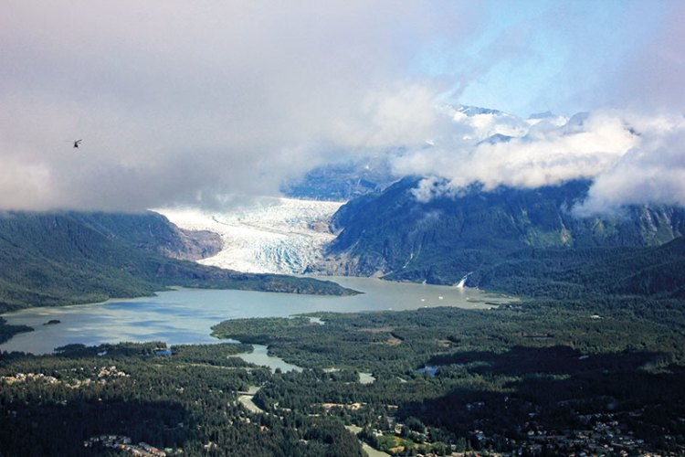 An aerial view of Mendenhall glacier