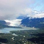 An aerial view of Mendenhall glacier, Alaska