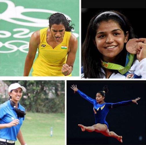 Clockwise from left to right: PV Sindhu, Sakshi Malik, Aditi Ashok and Dipa Karmakar