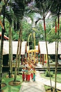 Procession through the resort