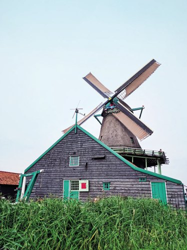 A heritage windmill at Zaanse Schans