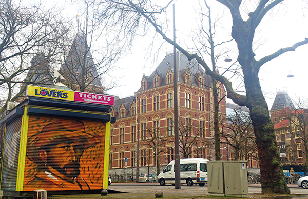 Van Gogh street art is a common sight  in the city