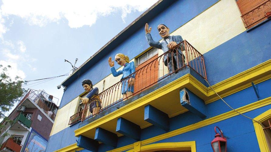 Statues of Diego Maradona, Eva Peron and Carlos Gardel in Buenos Aires