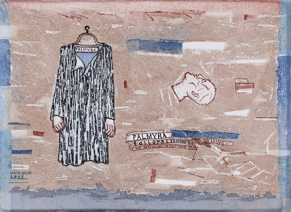 Arpita Singh,Palmyra-tailors & Drapers, Watercolour on paper, 11.5_ X 16_, 2015.Photo credit-Vadehra Art Gallery and Arpita Singh