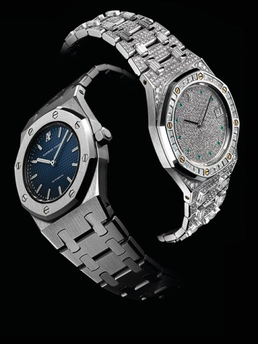 Left to right: Royal oak dame; Royal oak Haute Joaillerie