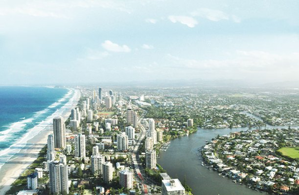 View of the Gold Coast from the observation deck of the Q1 Building, Surfers Paradise