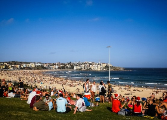 Christmas day on Bondi Beach, Syndey