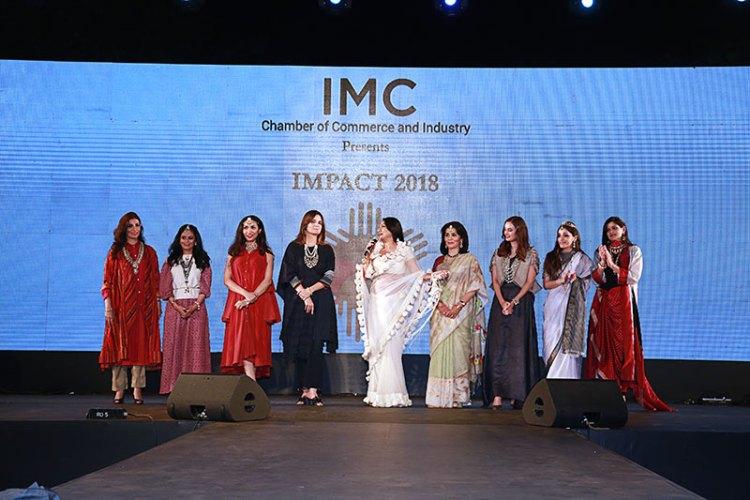 From L to R: Ayesha Singh Sheikhupura, Krishna Kumari Panna, Prernaa Arora, Simone Arora, Aarti Surendranath, Tasneem Mehta, Evelyn Sharma, Roshini Kapoor, Neerja Birla