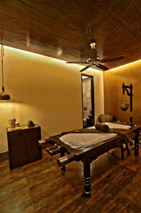 An Ayurvedic therapy room