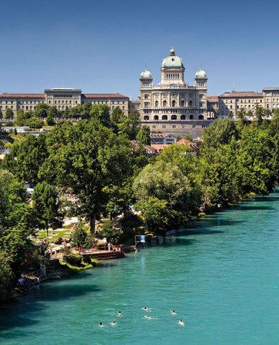 Swimming in river Aare, Bern