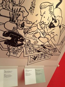 Hergé's self-caricature at the Memorable Pages' exhibition