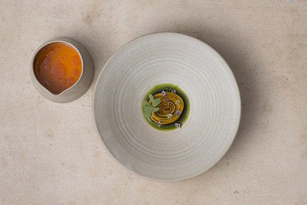Compressed melon rose, melon & sea buckthorn rasam, coriander oil