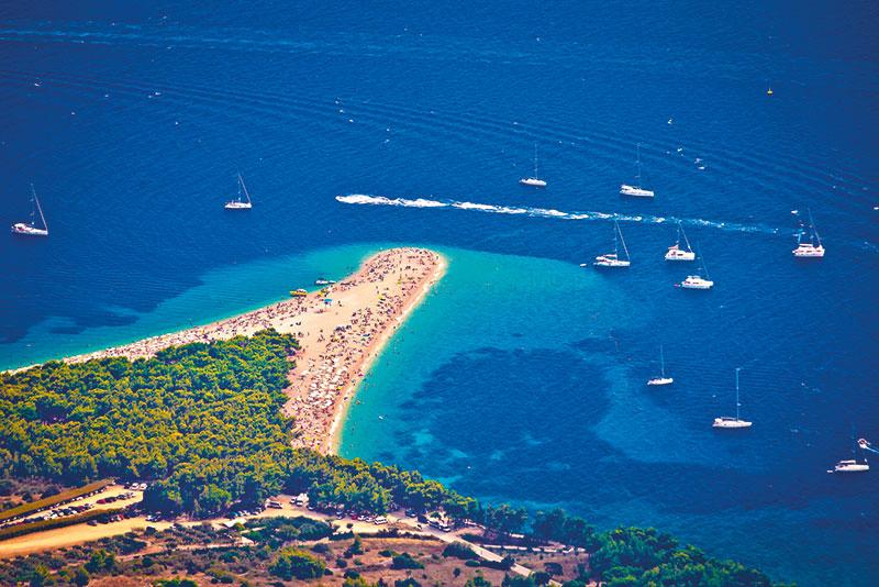 Croatia, The luscious sprawl of the Golden Horn beach at Bol on the island of Brac