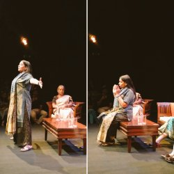 Shabana Azmi demonstrating the space men and women occupy